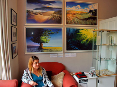 David's paintings and guest artist Rowena